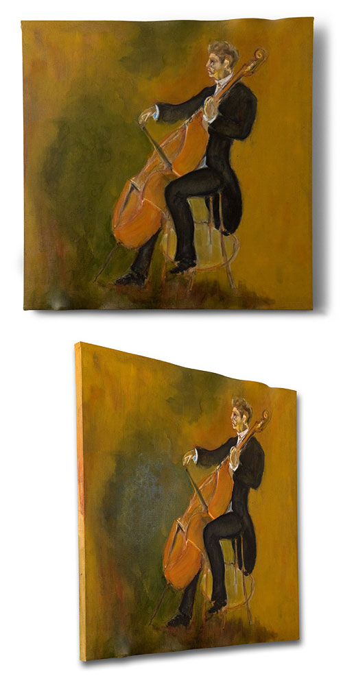Double Bass, ASO, painting by Sam Golding