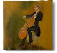 Double Bass ASO, painting by Sam Golding