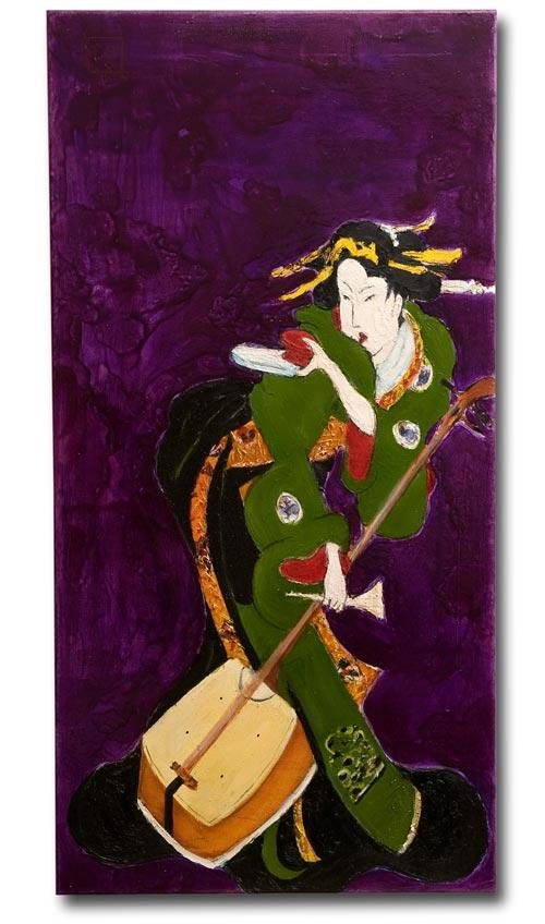 Purple Shamishen, painting by Sam Golding