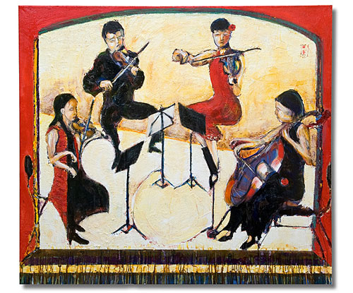 Flinders Quartet in the Round, painting by Sam Golding, 2011 Archibald entry